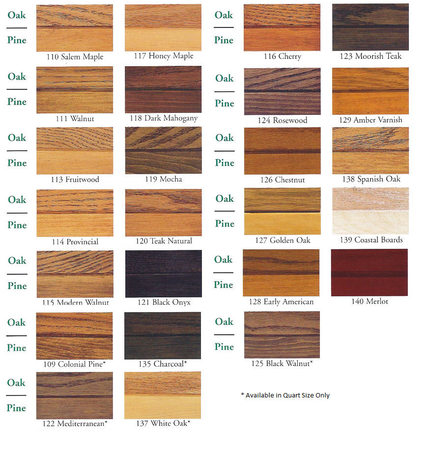 ZAR Wood Stain Quart Color Chart